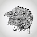 Vector tattoo eagle head black hand drawn highly detailed native american style Royalty Free Stock Images