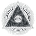 Vector tattoo illustration abstract sacred geometry with an all-seeing eye. Royalty Free Stock Photo