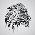 Vector tattoo native american indian chief hand drawn Stock Photo