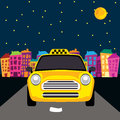 Vector of a taxi on the road Stock Image