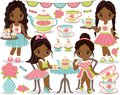 Vector Tea Party Set with Little African American Girls, Cupcakes, Tea Pot and Cups