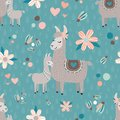 Vector Teal Mama Llama Seamless Pattern Background Royalty Free Stock Photo