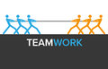 Vector teamwork graphics with two teams for infographics Stock Photos