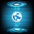 Vector tech circle and earth globe design on blue background.
