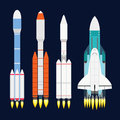Vector technology ship rocket cartoon design for startup innovation product and cosmos fantasy space launch graphic Royalty Free Stock Photo