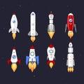 Vector technology ship rocket cartoon design.