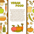 Vector tempate with cute cartoon modern objects in hand drawn style on vegan food theme fruit vegetable mushroom soy bean oil nut Royalty Free Stock Photography