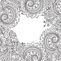 Vector template with beautiful monochrome floral pattern