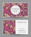 Vector template business card. Colorful doodle ornament. Royalty Free Stock Photo