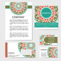 Vector template business card. Geometric background. Card or invitation collection. Islam, Arabic, Indian, ottoman motifs. Royalty Free Stock Photo