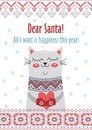 Vector template card Merry Christmas in traditional style with cute cat  gift. New Years winter background  holiday Royalty Free Stock Photo