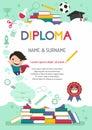 Vector template kids diploma at graduation