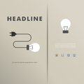 Vector template with light bulbs and wires