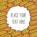 Vector template with many hot dogs for fast food business.