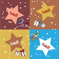 Vector template. New year discounts. Four star shaped cards