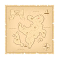 Vector Template of Pirate old Treasure Map. Illustration of Vintage Paper Stylized Manuscript Royalty Free Stock Photo