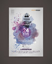 Vector template poster with watercolor paint abstract background. Grunge banner with an inky dribble strip with copy