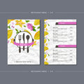 Vector template restaurant menu with carambola and flower