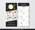Vector template restaurant menu with gold cutlery and red poppy Royalty Free Stock Photo