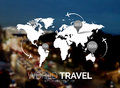 Vector template. World Map on blurred nature background. Points, travel concept. Web, mobile interface template Royalty Free Stock Photo