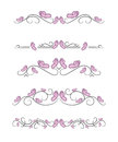 Vector text dividers with pink butterfly