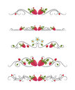 Vector text dividers with strawberry and leaves