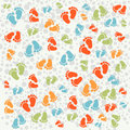 Vector texture background baby footprints traces