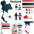 Vector thailand set detailed country shape regions borders flags icons Royalty Free Stock Image