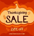 Vector thanksgiving social media sale banner in orange abstract autumn pumpkin background Royalty Free Stock Photo