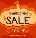 Vector thanksgiving social media sale banner in orange abstract autumn pumpkin background