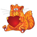 Vector thick orange cat sitting with heart in his  Royalty Free Stock Images