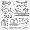 Vector thin line badge, label set for Saint Valentine's day and