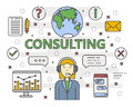 Vector thin line flat design Consulting concept banner