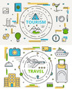 Vector thin line flat design tourism and travel concept bannes