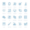 Vector thin line icon of medical equipment, research. Medical check-up, test element - MRI, x-ray, glucometer