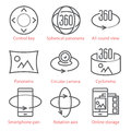 Vector thin line icons set with 360 Degree View and, Panorama tools and applications.