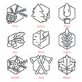 Vector thin line icons set with trees for nature and ecology infographics and UX UI