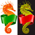 Vector Thorny Seahorse is Wrapped in Swirl Ribbon