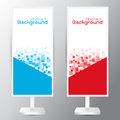 Vector of three banners abstract headers with blue red recta Royalty Free Stock Photo