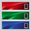 Vector of three banners phone abstract headers with colorful Royalty Free Stock Photo