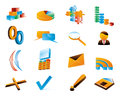 Vector three-dimensional icons. Royalty Free Stock Image