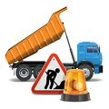 Vector tipper with sign and beacon on white background Royalty Free Stock Image