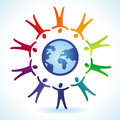 Vector tolerance concept people icons and globe in rainbow colors Royalty Free Stock Photo