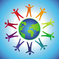 Vector tolerance concept people icons and globe in rainbow colors Stock Images