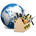 Vector toolbox with globe on white background Stock Photo