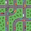 stock image of  Vector top view highways with cars and with trees in between top view illustration