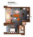 Vector top view illustration of modern one bedroom apartment. Detailed architectural plan of dining room combined with