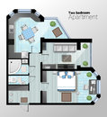 Vector top view illustration of modern two bedroom apartment. Detailed architectural plan of dining room combined with