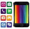 Vector touchscreen phone with rainbow wallpaper and app icons Stock Images