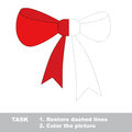Vector trace game. Red bow to be colored. Royalty Free Stock Photo